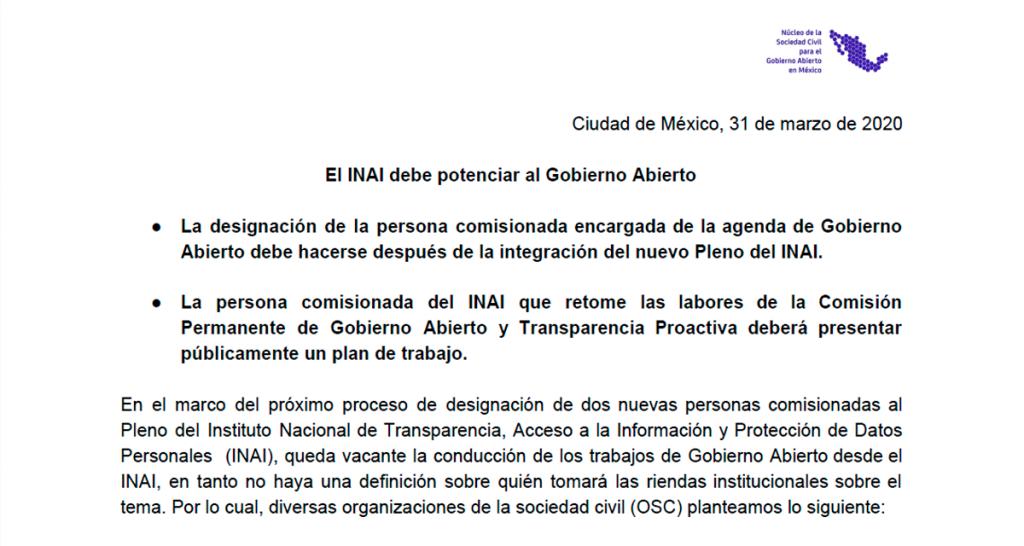 20200325 Comunicado Perfil de Gobierno Abierto en INAI