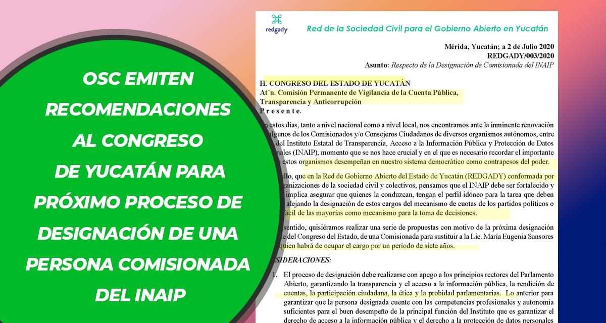 Carta de OSC sobre designación INAIP